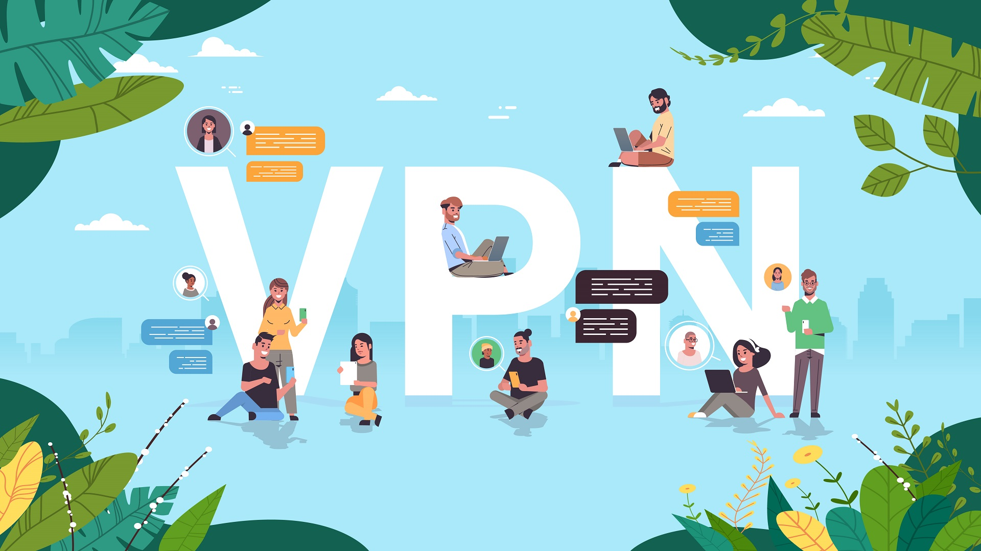 people using virtual private network vpn for communication cyber security and privacy concept secure online connection personal data protection horizontal full length vector illustration